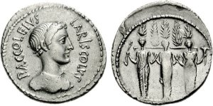 Denarius (Roman coin) of Diana and triple cult statue on reverse, minted 43 BC. Photo: Wikimedia Commons